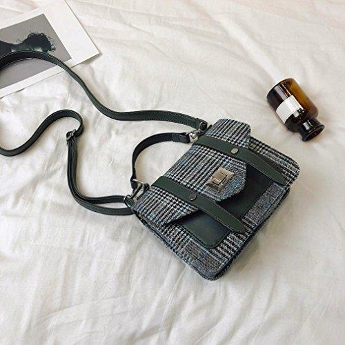 For Bag Girl Bag Stripes Green Double Green Plaid Crossbody NXDA Messenger Bag Belt Buckle Shoulder Women Women Handbag For wqnFCZH
