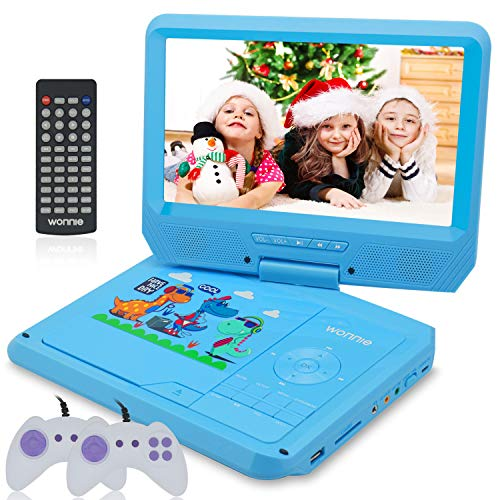 WONNIE 11.5'' Kids Portable DVD Player with 9.5'' Swivel Screen, Games/USB/SD Card Readers and Built-in Rechargeable Battery ( Blue )