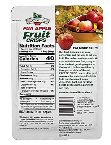 Brothers-ALL-Natural Fuji Apple Crisps, 0.35-Ounce Bags (Pack of 70) (Fuji Apple 70 Pack)