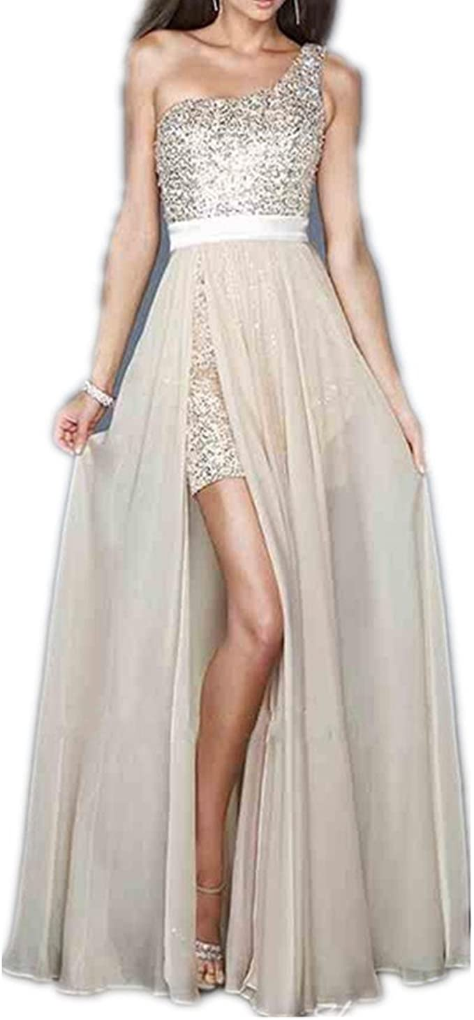 YASIOU Partykleid Elegant Damen Champagner Lang A Linie Chiffon