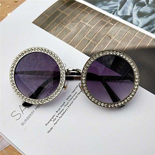 Sunyan Nouvelles lunettes ronde de diamants en Europe ventilateur-match tous les beaux hommes et les femmes font face à des lunettes de soleil