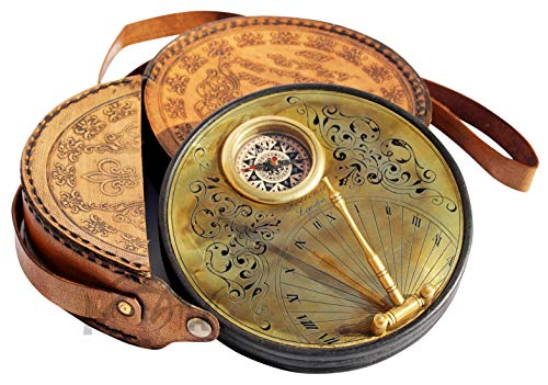 MAH 6.5 Inch Brass Sundial Compass with Leather Case - Steampunk Accessory - Antiquated Finish - Beautiful Handmade Replica Gift -Sundial with Case. C-3262]()