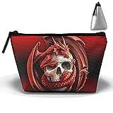 SHOUNA Trapezoid Cosmetic Bags Brush Pouch Skull Dragon Makeup Bag Zipper Wallet Hangbag