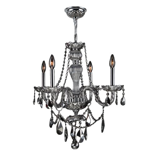 Worldwide Lighting Provence Collection 4 Light Chrome Finish and Chrome Crystal Chandelier 23