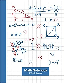 Math Notebook 1/2 Inch Squares: Math Classroom Composition ...