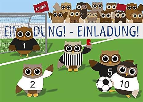 '10biglietti d' invito Calcio gufo Invito 1150, Carta, 10 Einladungskarten + 2 Postkarten Konzept-G 1150+1105+1111