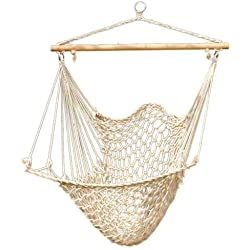 Hammock Net Chair - Cotton Rope Cradle Chair with Wood Stretcher for Yard, Bedroom, Porch, Beach, Indoor, Outdoor Capable of 330lbs