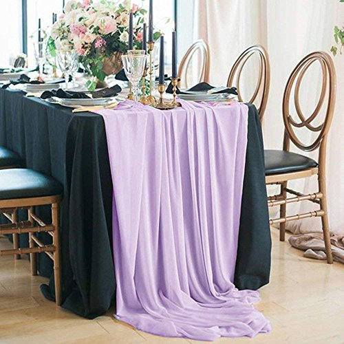 QueenDream 5 Pack 27 x 120 Inches Light Purple Sheer Chiffon Table Runner for Baby Girl Shower Girl's Sweet 16 Birthday Decor Wedding Decor Holiday Decor -