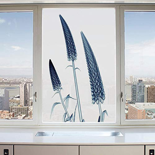 3D Decorative Privacy Window Films,Gooseneck Loosestrife Flower X rays Image Exotic Plants Blooms Artful Home,No-Glue Self Static Cling Glass film for Home Bedroom Bathroom Kitchen Office 17.5x36 Inch