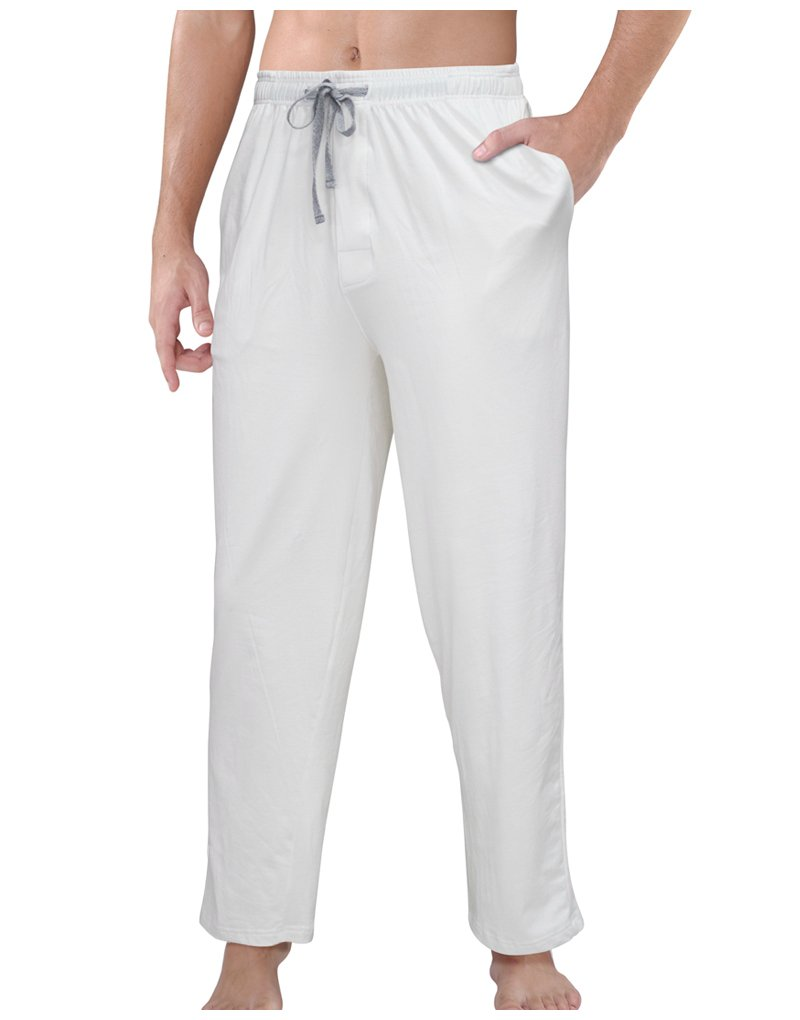 SUNNY SHOP Pajama Pants Men 100% Cotton Lounge Pants Packets Mens Yoga Pants White Baggy