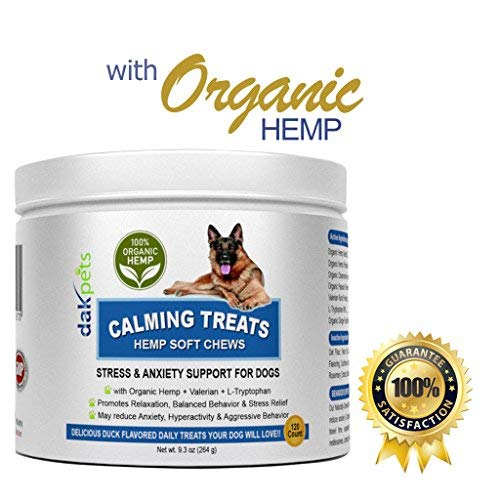 - DakPets Calming Treats for Dogs-Soft Chews w/Organic Hemp,Valerian Root & L Tryptophan for Dog Anxiety Relief. All-Natural Dog Treats for Barking,Chewing,Storms & Travel -Duck flavour-120 Count