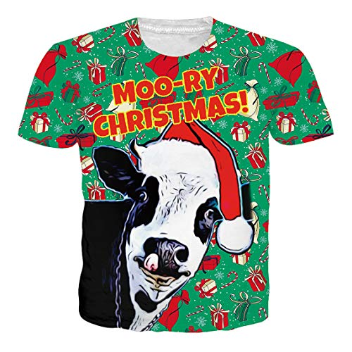 Hat Top T-shirt Short Sleeve (RAISEVERN Adult's Short Sleeve T-Shirt Cool 3D Print Cow Santa Hat Crewneck Green Top Tees)