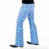 Revolver Fashion Psychedelic Men's Flare Pants: USA Made Flared Bell Bottoms (Large, Blue Kaleidoscope)