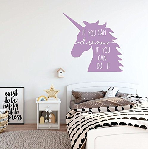 Fairy Personalized Wall Art (Unicorn Wall Decal - If You Can Dream It - Vinyl Decor For Girl's Bedroom, Playroom or Bathroom - Kids Home Decorations)