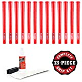 Pure Grips Wrap Grip Kit with Tape, Solvent and Vise Clamp (13-Piece), Midsize, Red