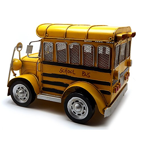 Escomdp Large Size Vintage School Bus,Home Décor, Kids' Room Decoration ,Handmade Collections Metal Vehicle Toy Model(Yellow) by Escomdp (Image #2)