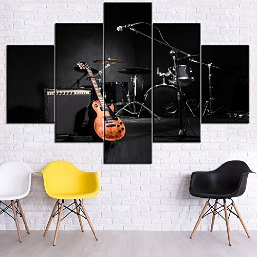 Black and White Artwork for Walls A Set Musical Instruments Pictures HD Prints on Canvas Concert Paintings 5 PCS Wall Art Home Decor for Living Room Giclee Framed Stretched Ready to Hang(60''Wx40''H)