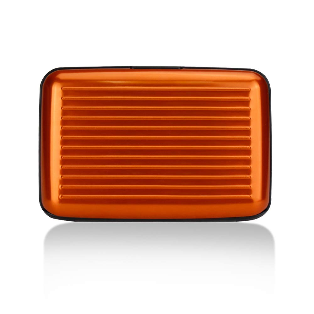 OBO HANDS Carta di Credito Impermeabile ID Carta di Credito Portafoglio Portafoglio Tasca di Alluminio Metallo Lucido Side Anti RFID Scansione Carta (arancia)