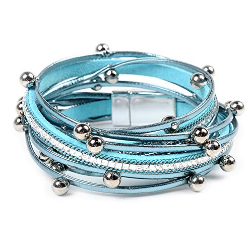 (Leather Cuff Bracelet for Women - Boho Beads Wrap Clasp Bangle Bracelet Leather Wristbands Birthday Gifts for Women(Light Blue))