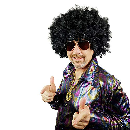 Afro Wig for Women & Men – Big 60s 70s 80s Curly Costume Wigs – One Huge Size for Kids Adults