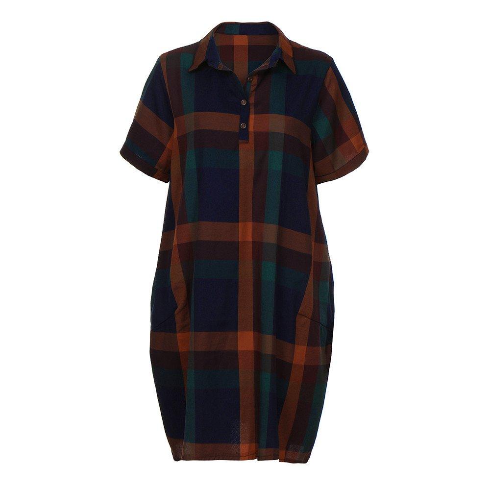 Damen Kleid Kelry Größe Baumwoll Plaid Lose Tasche Damenkleid Bequem Dress Mode Kleiden Cool Sommerkleider