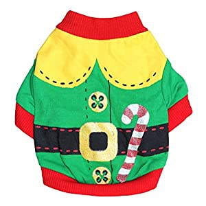 Freerun Small Dog Customes Pet Dog Cat Santa Sweater Cat Clothes Pet Puppy Dog Shirt Coat Costume - Green, XS