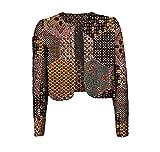 Comaba Women's Batik Crop Top Floral Print Africa Jacket Coat Cardigan 8 S