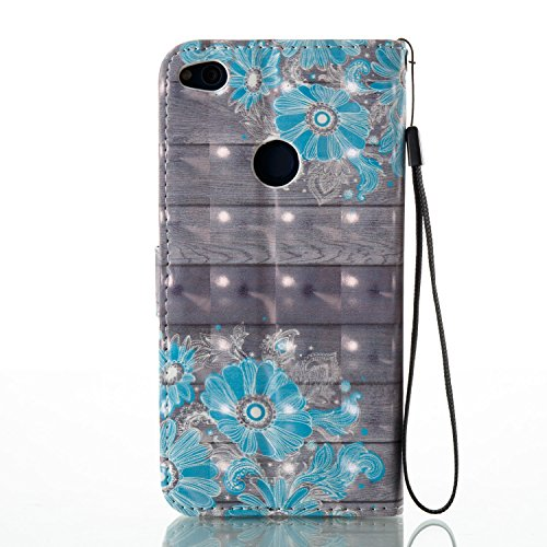 Para Huawei P8 Lite 2017 funda, (mariposas) pintura 3D caja del teléfono de la PU patrón en relieve ,Función de Soporte Billetera con Tapa para Tarjetas correa de mano soporte para teléfono flores azules