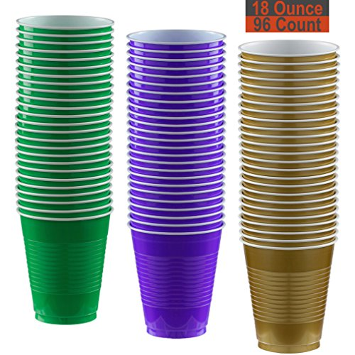 18 oz Party Cups, 96 Count - Festive Green, Purple, Gold - 32 Each -