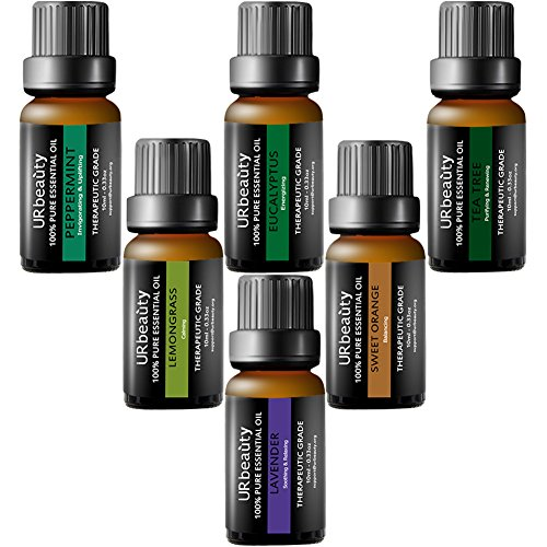 URbeauty Essential Oils, Upgrated 6 Aromatherapy Essential Oil Diffuser Essential Oils 100% Pure Lavender, Peppermint, Sweet Orange, Eucalyptus, Tea Tree, Lemongrass Essential Oil Gift Set 10ml/each