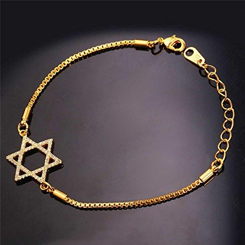Jewish Jewelry Set Women CZ Drop Earrings 18K Gold Plated Cubic Zirconia David Star Pendant Necklace