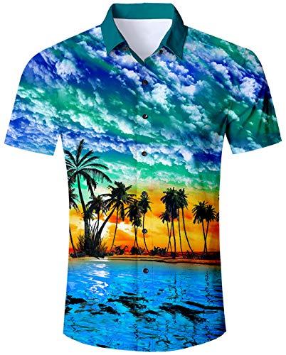 (Blue Hawaiian Shirt Palm Tree Hawaiian Island Shirt Jazz 90s Novelty Palm Tree Blue Hawaiian Shirt Summer Holiday Pattern Short Sleeve Shirt Unique Vegas Button Down Shirt )
