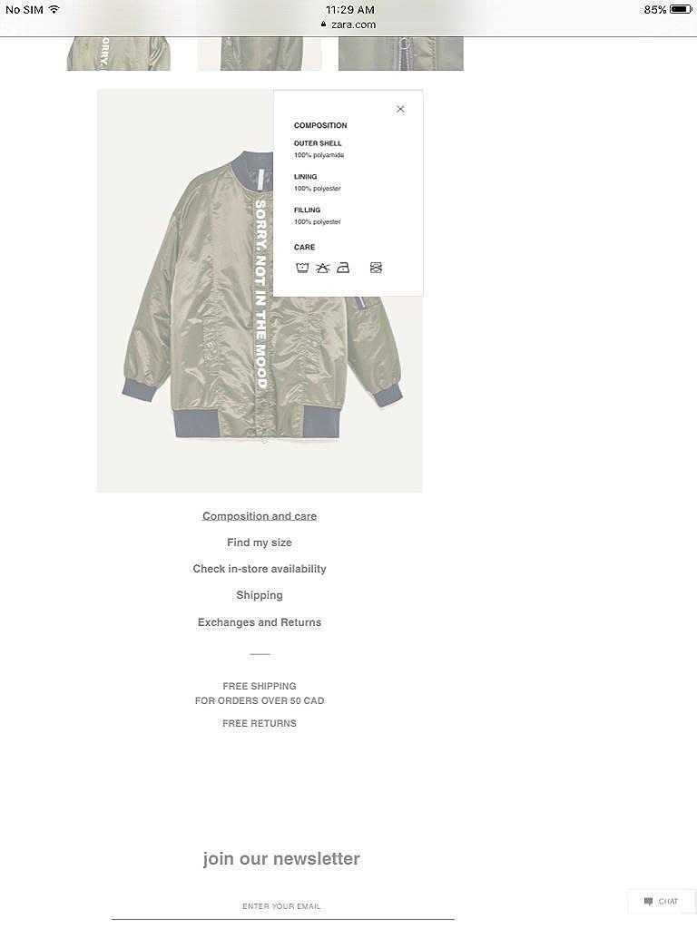 Amazon.com: Zara lema de largo chamarra de bombardero BNWT ...