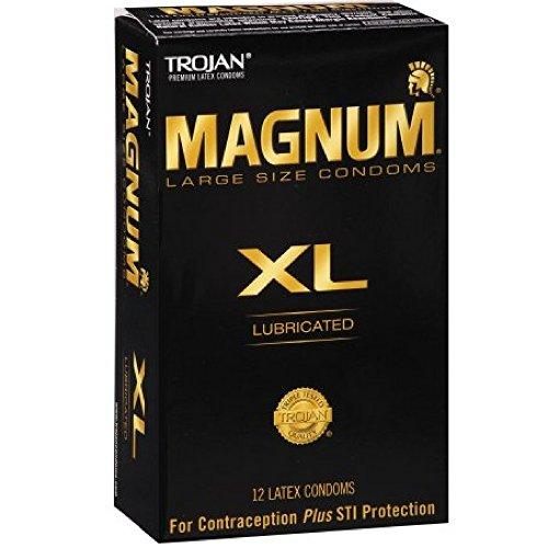 Trojan Lubricated Latex Condoms, Magnum XL, Extra Large 12 ct (Quantity of 3)