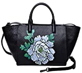 PIJUSHI Women Top Handle Handbag Satchel Floral Purse Shouder Bag (17805 Black/Lemon yellow)
