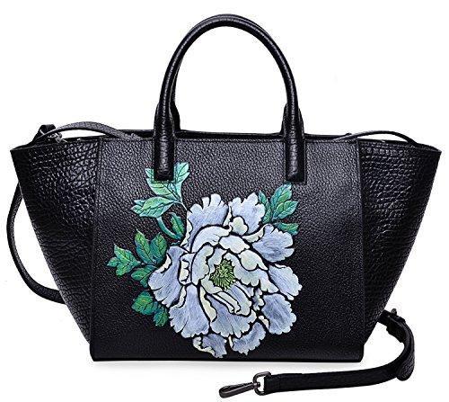PIJUSHI Women Top Handle Handbag Satchel Floral Bag 17805(One Size, Black/Lemon yellow) by PIJUSHI
