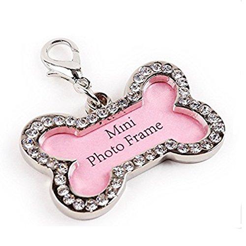 Crystal Bone Tag ID Pet Charm Tag Bone Shape Pendant Dog Jewelry Rhinestone Tag Accessories