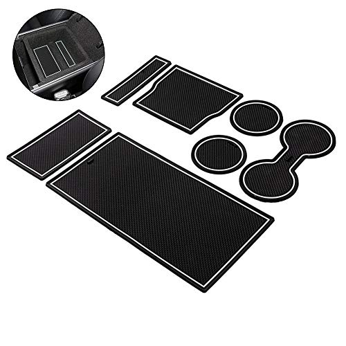 (DokFin Tesla Model 3 Wrap, Tesla Model 3 Accessories Interior Custom Fit Cup Rubber Center Console Liner Mat Cup Holder for Tesla Model 3, Pack 7)