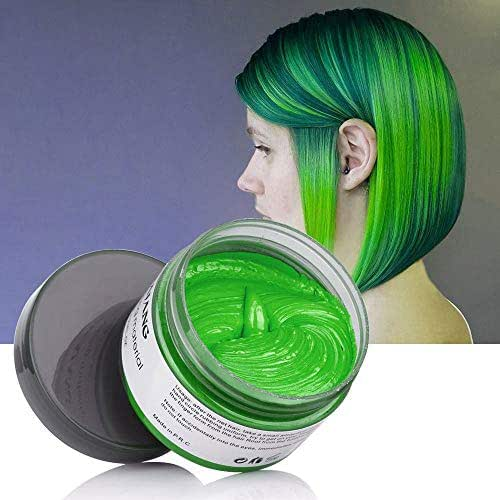 Mofajang Green Hair Color Wax for Short Hair Temporary Hairstyle Cream 4.23 oz Pomades Natural Hairstyle Wax for Kids Men Women Party Cosplay Halloween Date (Green)