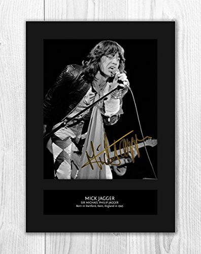 Mick Jagger - The Rolling Stones 1 MT - Signed Autograph Reproduction Photo A4 Print (Card Mounted)