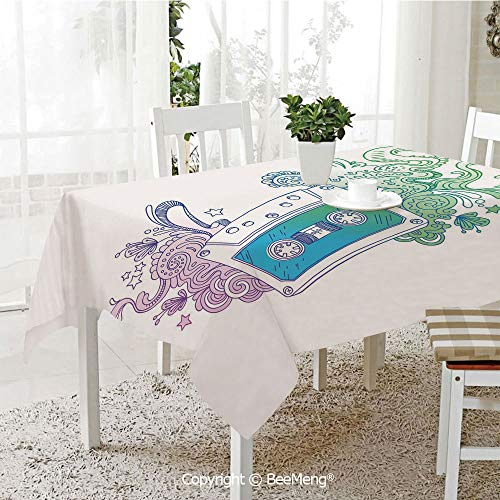 BeeMeng Dining Kitchen Polyester dust-Proof Table Cover,Doodle,Audio Cassette Tape with Line Art Floral Musical Old Fashion Melody Print Decorative,Blue Mint Purple,Rectangular,59 x 59 ()