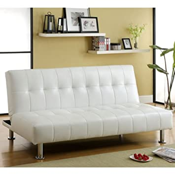Bulle White Leatherette Finish Futon Sofa Bed By Furniture Of America