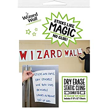 Wizard Wall Portable and Re-positionable Dry Erase Pre Cut Sheets, White, 9.5