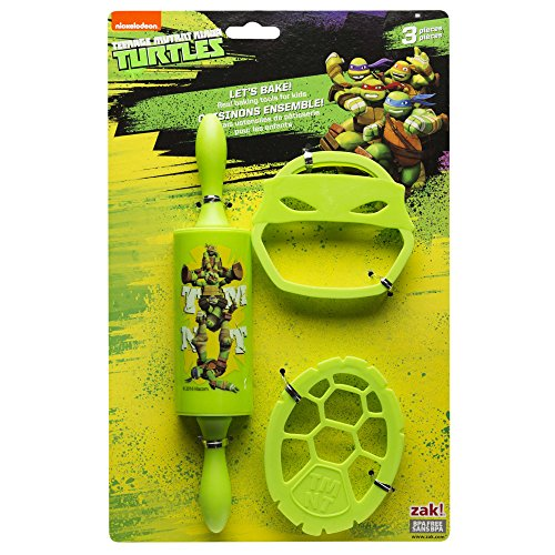 Zak Designs Lets Bake! Rolling Pin and Cookie Cutters for Cooking with Kids, Ninja Turtles]()