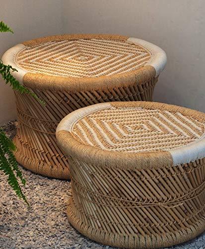 Handmakers ! Natural Bamboo (SARKANDA) Mudda Stool with Beige and White (13×17)-(one Piece)