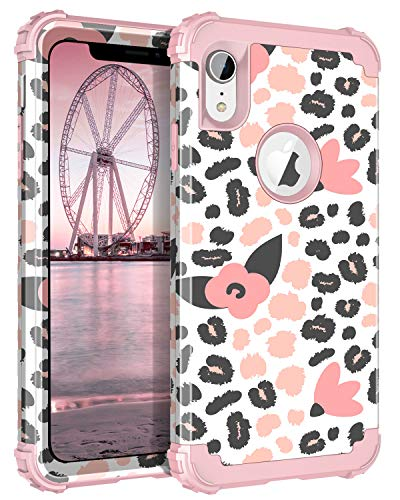 Lontect Compatible iPhone Xr 2018 Case Floral 3 in 1 Heavy Duty Hybrid Sturdy Armor High Impact Shockproof Protective Cover Case for Apple iPhone Xr 6.1 Display, Speckle/Rose Gold