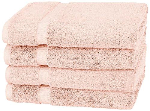 Pinzon Organic Cotton Bath Towels (4 Pack), Pale Peach