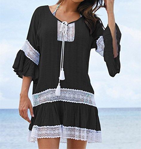 Noir Cache Plage de de Tunique Sarong maillot pour Bikini Cover Maillot t Robe Bain Soleil Dentelle AiJump Femmes Up xSwzUqBq