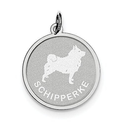 Sterling Silver Solid Faceted Engravable Laser Etched Schipperke Disc Charm