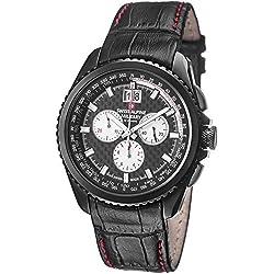 Swiss Alpine Military Thunder Men's Black PVD Swiss Quartz Chronograph Watch 1621.9577 SAM